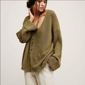Free People La Brea green V-Neck Sweater